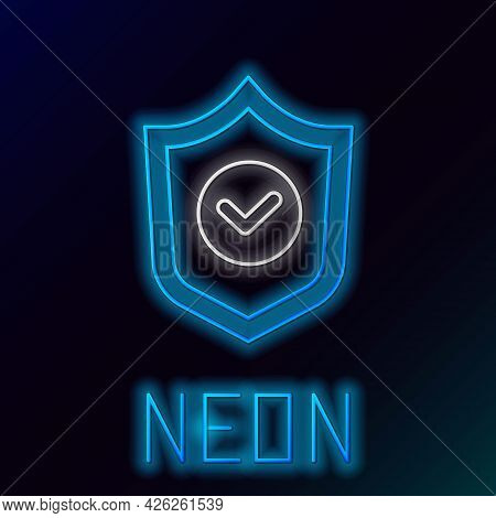 Glowing Neon Line Shield With Check Mark Icon Isolated On Black Background. Protection Symbol. Secur