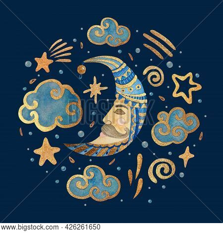 Watercolor Illustration With The Moon, Stars, And Clouds. Gold Watercolor On The Dark Background. Ki
