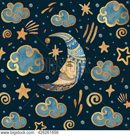 Watercolor Card With The Moon, Stars, And Clouds. Gold Watercolor On The Dark Background. Kids Water