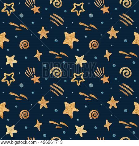 Watercolor Seamless Pattern With The Moon, Stars, And Clouds. Gold Watercolor On The Dark Background