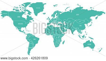 Simplified Schematic Map Of World. Political Map Of Countries With Name Labels. Generalized And Smoo