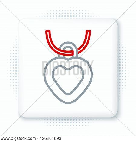 Line Necklace With Heart Shaped Pendant Icon Isolated On White Background. Jewellery Decoration. Int