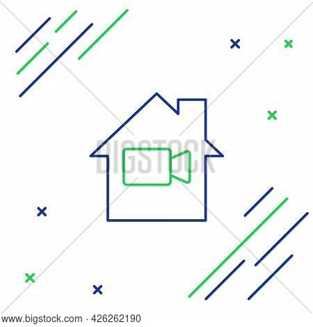 Line Video Camera Off In Home Icon Isolated On White Background. No Video. Colorful Outline Concept.