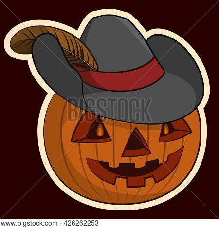 Halloween Holiday Symbol, Pumpkin O Lantern In The Hat With A Plume, Isolated On White Background. V