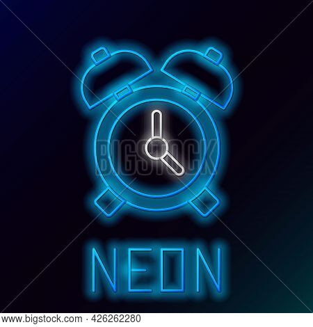 Glowing Neon Line Alarm Clock Icon Isolated On Black Background. Wake Up, Get Up Concept. Time Sign.