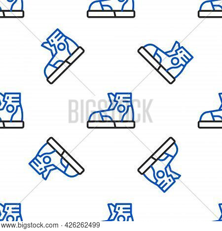 Line Fitness Sneakers Shoes For Training, Running Icon Isolated Seamless Pattern On White Background