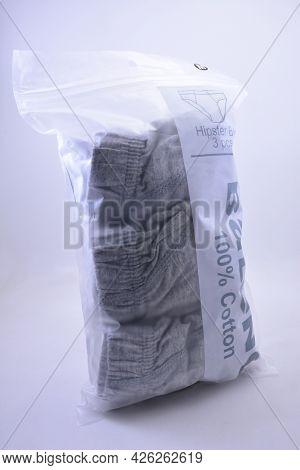 Manila, Ph - July 7 - Baleno Gray Male Brief Underwear On July 7, 2021 In Manila, Philippines.