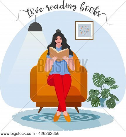 Woman Reading Book On Chair. Online Reading. Back To School. College And University Concept Vector I