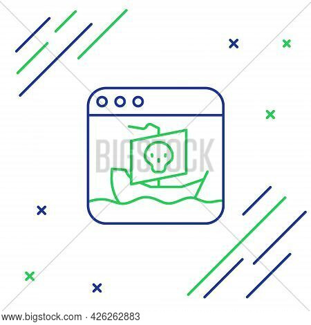 Line Internet Piracy Icon Isolated On White Background. Online Piracy. Cyberspace Crime With File Do