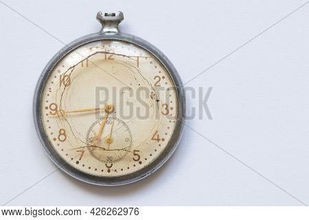 An Old Broken Clock That Once Showed The Time.