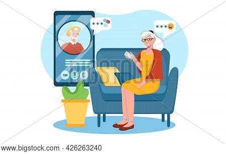 Elderly Woman Is Calling Old Man On Smartphone From Home. Elderly Senior Couple Has Video Conference