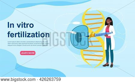 Female Scientist Working On Infertility Treatment For A Woman With Syringe. Concept Of Ifertility, F