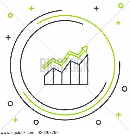 Line Financial Growth Increase Icon Isolated On White Background. Increasing Revenue. Colorful Outli