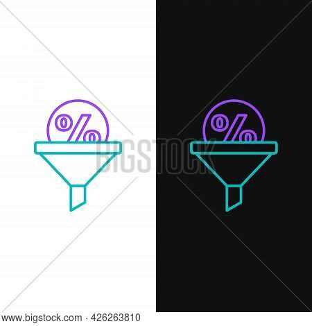 Line Lead Management Icon Isolated On White And Black Background. Funnel With Discount Percent. Targ