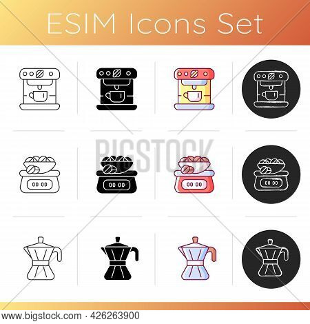 Coffee Shop Machine Icons Set. Espresso Machine For Drink Making. Scales For Weighing Beans. Moka Po