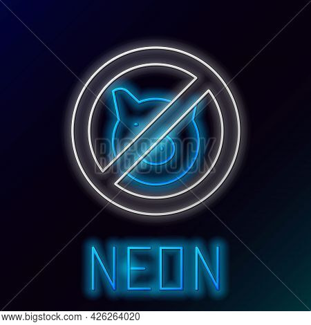 Glowing Neon Line No Pig Icon Isolated On Black Background. Stop Pork. Animal Symbol. Colorful Outli