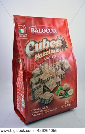 Manila, Ph - July 7 - Balocco Cubes Hazelnut Wafers On July 7, 2021 In Manila, Philippines.