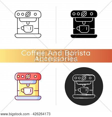 Espresso Machine Icon. Commercial Appliance For Cafe. Professional Coffee Maker Device With Cup. Bar