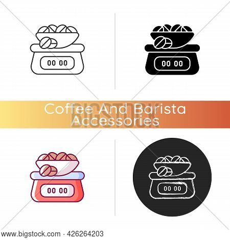 Coffee Scale Icon. Appliance For Measuring Beans Weight. Weighing Roasted Seeds For Espresso Prepara