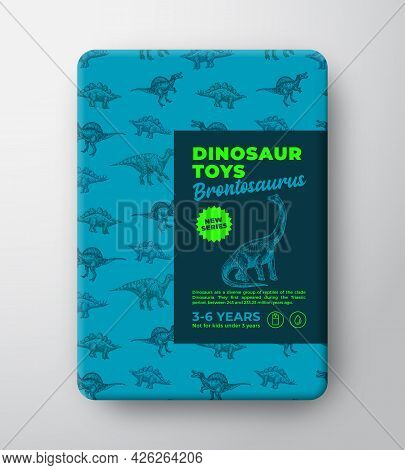 Dinosaur Toys Label Template. Abstract Vector Packaging Design Layout. Hand Drawn Brontosaurus Sketc