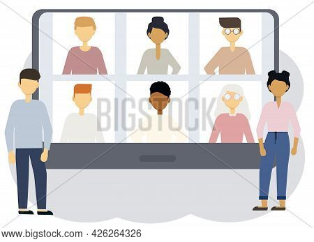 Online Conference Illustration. A Woman And A Man Next To The Tablet Screen, Which Depicts Portraits