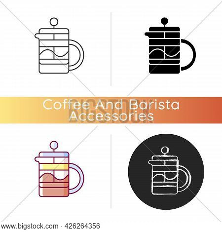 French Press Icon. Kitchen Utensil For Preparing Coffee And Tea. Household Pot For Brewing Drinks. B