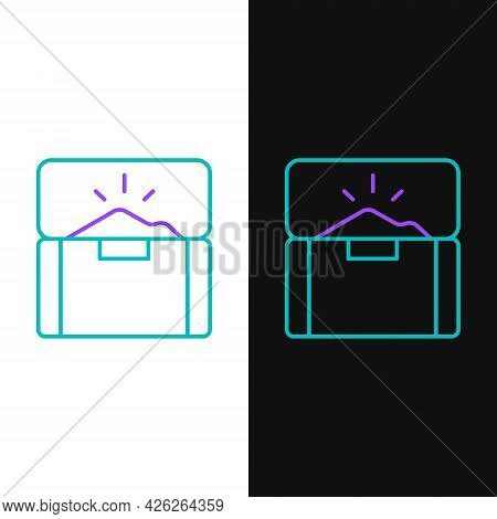 Line Antique Treasure Chest Icon Isolated On White And Black Background. Vintage Wooden Chest With G