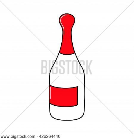 Champagne Bottle. Valentine's Day. Declaration Of Love. Vector Hand Drawn Illustration. For Greeting