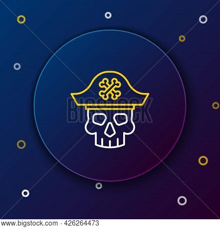 Line Pirate Captain Icon Isolated On Blue Background. Colorful Outline Concept. Vector
