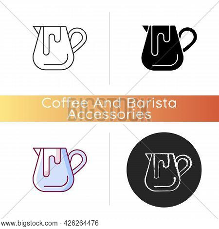 Milk Jug Icon. Pitcher For Professional Latte Art. Equipment For Coffee Shop And Cappuccino Preparat