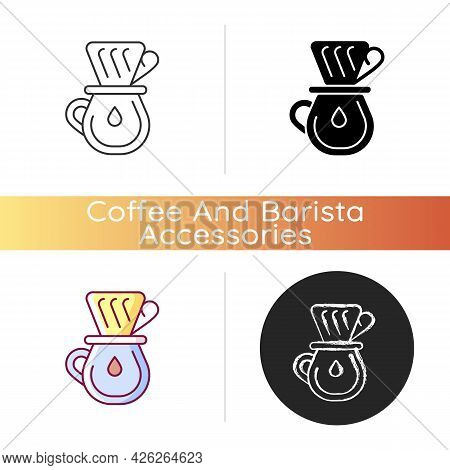 Drip Coffee Icon. Filter For Brewing Espresso. Professional Utensils And Equipment For Coffee Shop.