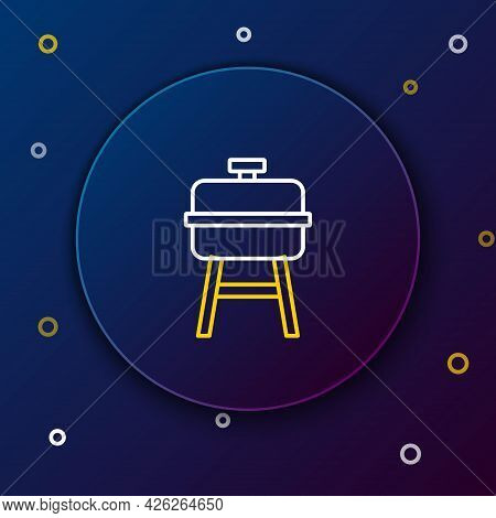 Line Barbecue Grill Icon Isolated On Blue Background. Bbq Grill Party. Colorful Outline Concept. Vec