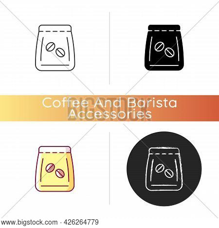 Coffee Beans Bag Icon. Package For Brewing Espresso. Pack With Roasted Seeds. Coffee Shop Drink Prep
