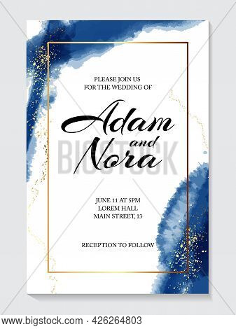 Blue Watercolor Background, Hand Drawn Gold Texture. Wedding Invitation , Bride To Be Card, Marriage