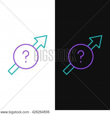 Line Arrow Icon Isolated On White And Black Background. Direction Arrowhead Symbol. Navigation Point