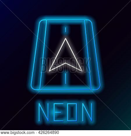 Glowing Neon Line Infographic Of City Map Navigation Icon Isolated On Black Background. Mobile App I