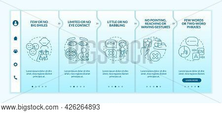 Asperger Syndrome Signs In Kids Onboarding Vector Template. Responsive Mobile Website With Icons. We