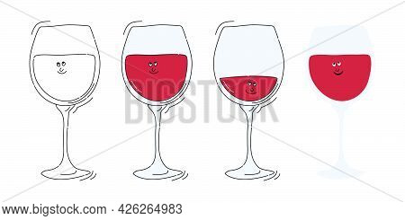 Red Wine Glassware With Smile Face On White Background. Cartoon Sketch Graphic Design. Doodle Style