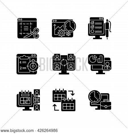 Work Monitoring Tools Black Glyph Icons Set On White Space. Project Evaluation. Productivity Control