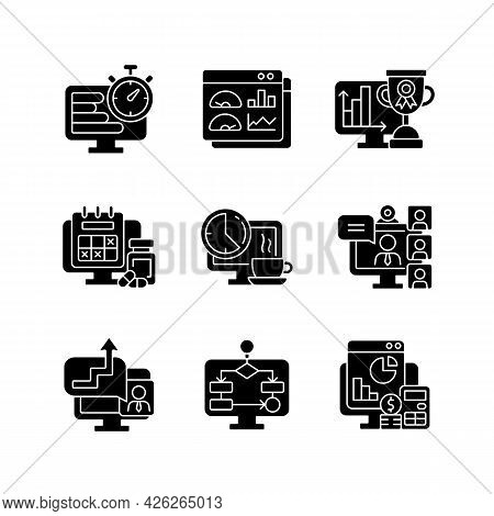 Online Work Monitoring Black Glyph Icons Set On White Space. Data Evaluation For Professional Manage