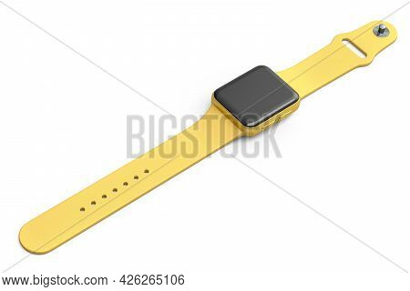 Stainless Gold Smart Watch With Gold Strap Isolated On White Background. 3d Rendering Concept Of Wea