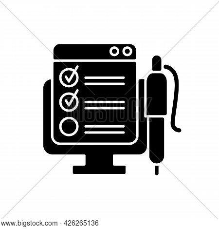 Online Form Black Glyph Icon. Checklist For Project Task. Internet Questionnaire With Control Checkl