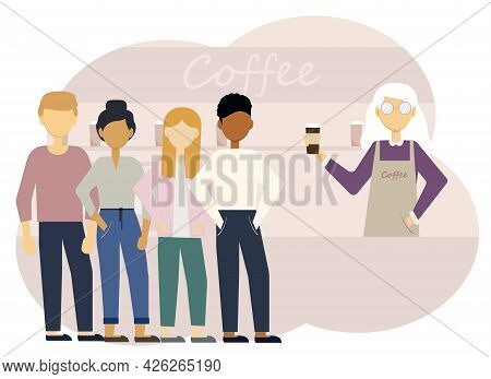 Illustration Of A Coffee Shop Interior With A Woman Barista At The Counter And A Long Line Of Custom