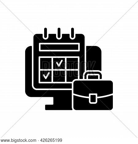 Online Work Calendar Black Glyph Icon. Schedule Business Dates And Events. Plan For Professional Pro