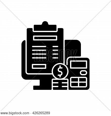 Invoicing Black Glyph Icon. Cost Management For Business. Financial Document. Professional Accountin