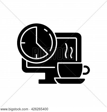 Breaks In Work Graphic Black Glyph Icon. Time For Rest On Workplace In Office. Employee Relax In Fro