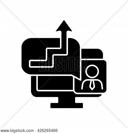 Video Coaching Black Glyph Icon. Online Meeting To Discuss Work With Office Manager. Virtual Call Wi