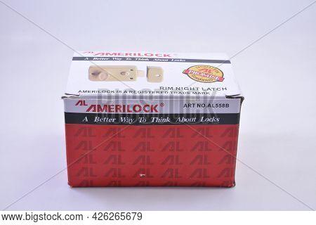 Manila, Ph - July 7 - Amerilock Rim Night Latch Lock On July 7, 2021 In Manila, Philippines.