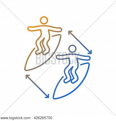 Keeping Distance Between Surfers Gradient Linear Vector Icon. Preventing Surfing Injuries. Surfing E