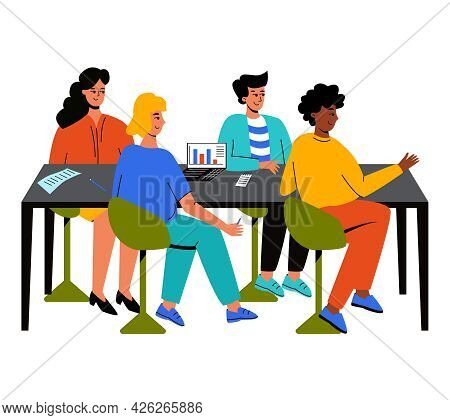 Colleagues Sit At The Table Together, Teamwork. The Concept Of An Office, Working Together. A Team F